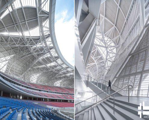 استودیوم ورزشی هنگژو با طرح اورگانیک گلبرگ های لوتوس