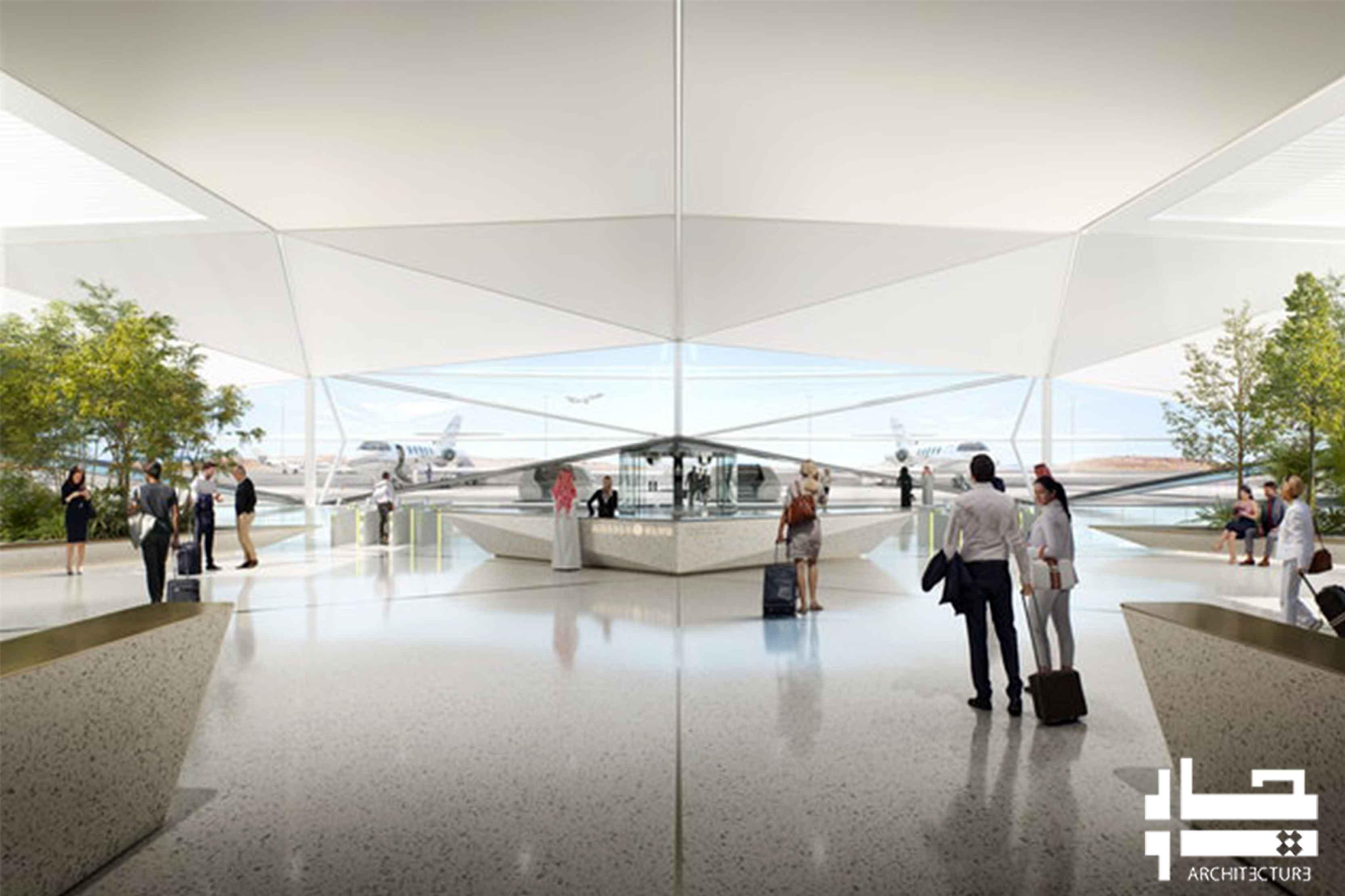 فرودگاه با طرح هندسی مواج و آینه